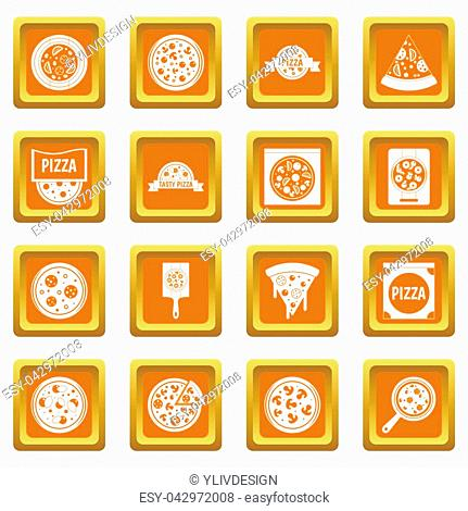 Pizza icons set in orange color isolated illustration for web and any design