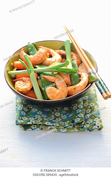 Sauteed shrimp and vegetable