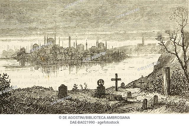Istanbul from the British cemetery at Scutari, Turkey, illustration from The Graphic, volume XVII, no 433, March 16, 1878