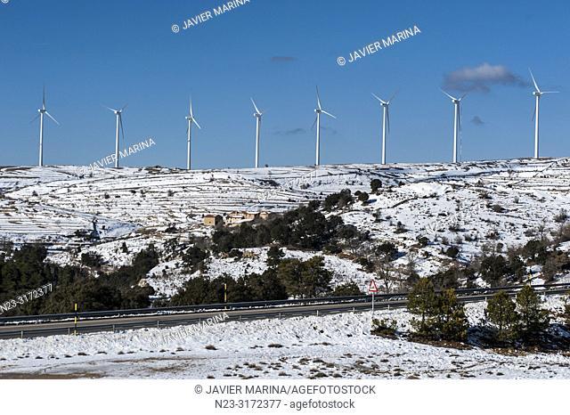 Snow in the mountain pass of Torre Miró, Morella, Castellón, Spain