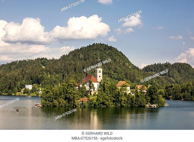 Baroque church on Bled Island, Bled, Julian Alps, Upper Carniola, Slovenia