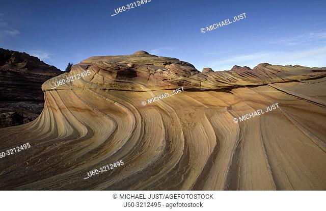 Unusual rock formations produced through millions of years of erosion form the landscape at the Coyoter Buttes North, Arizona