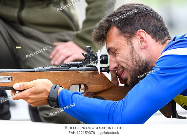 Teambuilding at the after-day in biathlon stadium Hochfilzen. Lukas Froede (KSC) at the shooting range. GES / football / 2nd Bundesliga: training camp of the...