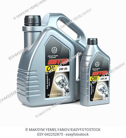 Motor oil canisters on white isolated background. 3d illustration