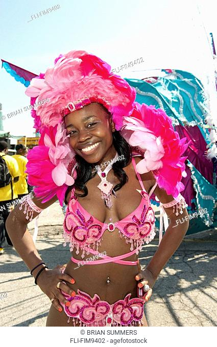 Young woman in costume for the Caribana Festival Parade, Toronto, Ontario