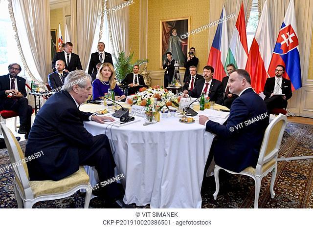 L-R Czech President Milos Zeman, Slovak President Zuzana Caputova, Hungarian President Janos Ader and Polish President Andrzej Duda attend the presidential...