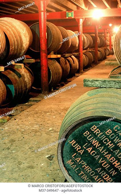 Warehouse. Lagavulin whisky distillery. Islay island. Scotland. UK