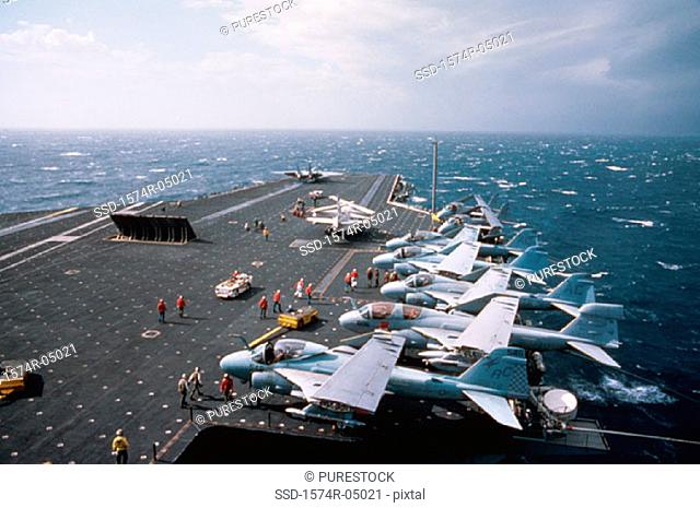 High angle view of fighter planes on on the USS John F. Kennedy aircraft carrier