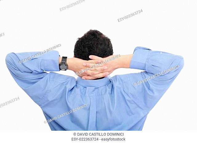 Closeup portrait of young businessman from the back. Sitting wit