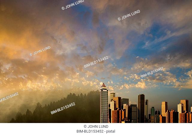 City skyline and hillside forest under dramatic morning sky