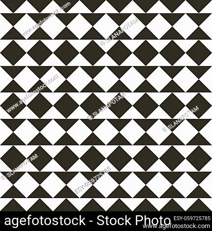 Black and white abstract geometric quilt pattern. High contrast geometric background with triangles. Simple colors - easy to recolor