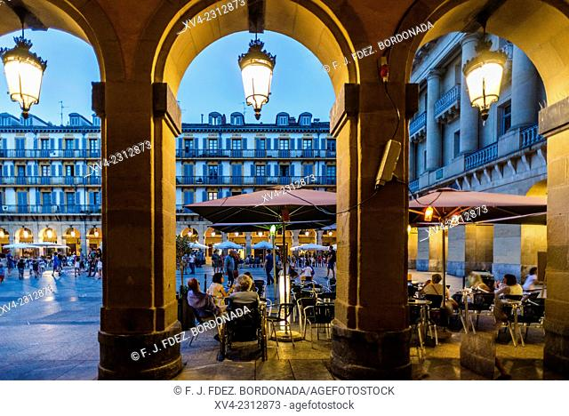 Constitución Square. Old town of San Sebastián by night. Donostia, Basque Country, Spain