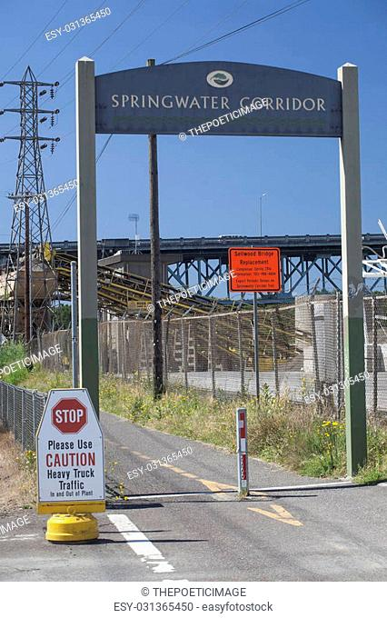 The entrance to Portland, Oregon's new Springwater Corridor is graced with an unappealing factory