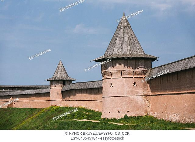 Ancient walls and Towers of Suzdal Kremlin. The Suzdal Kremlin dating from the 10th century