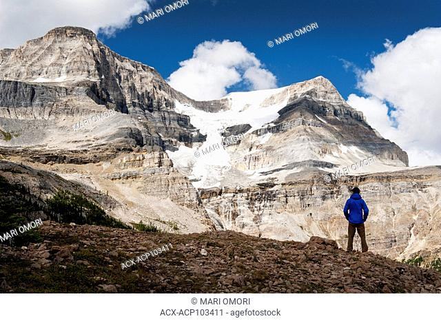 A hiker at Ball Pass in Kootenay National Park. Model Release signed