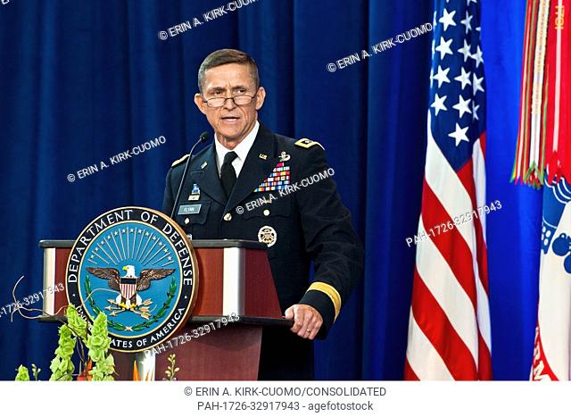 HANDOUT- Army Lieutenant General Michael Flynn speaks at the Defense Intelligence Agency change of directorship at Joint Base Anacostia-Bolling, July 24, 2012