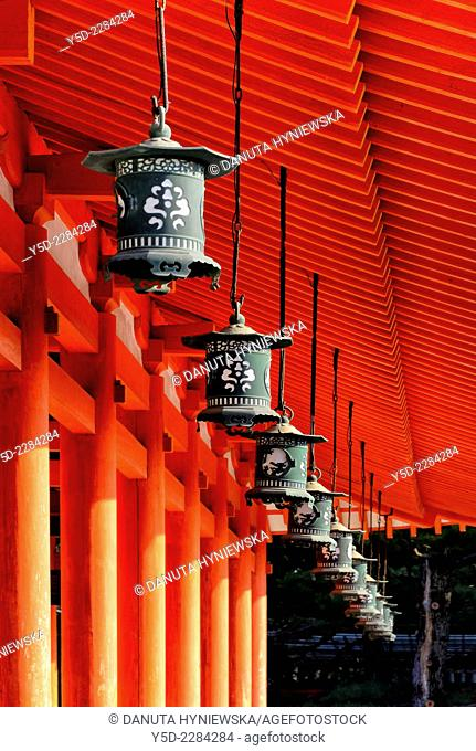 Heian Shrine - Heian Jingu - Shinto shrine in Sakyo-ku, Kyoto, Japan, architectural detail - Japanese lanterns