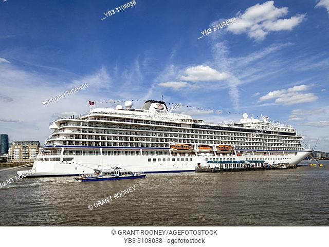 The Viking Sky Cruise Liner Moored On The River Thames At Greenwich, London, UK