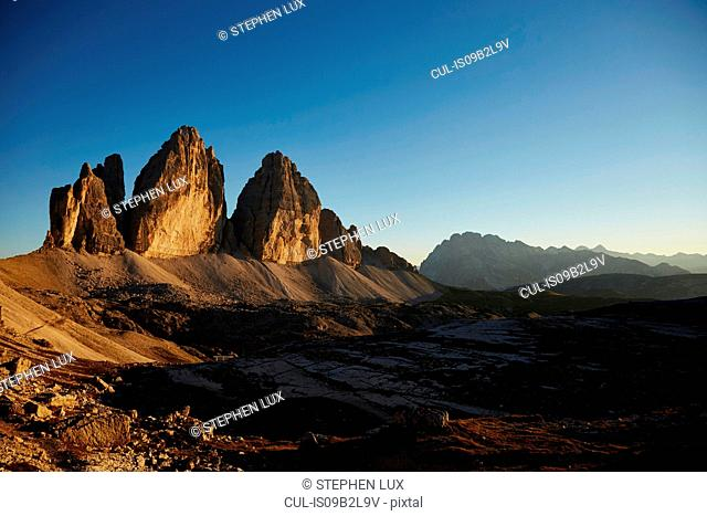Mountain landscape at sunset, Dolomites, Sexten, South Tyrol, Italy