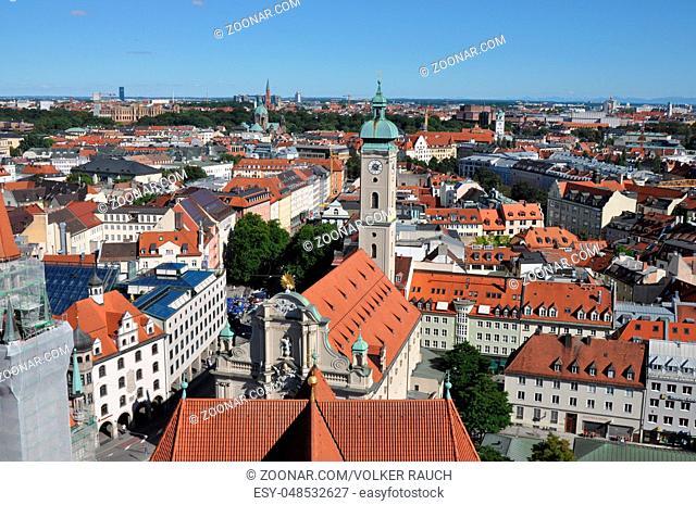blick, panorama, rundblick, Heilig-Geist-Kirche, München, kirche, kirchturm, bayern,glockenturm, architektur, stadt, aussicht, innenstadt, altstadt