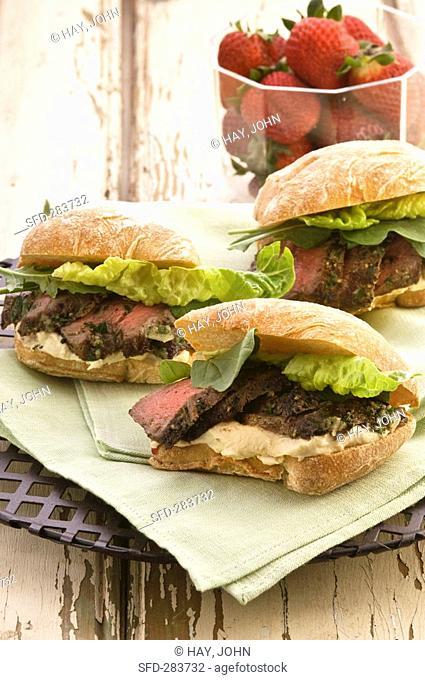 Lamb and hummus sandwiches