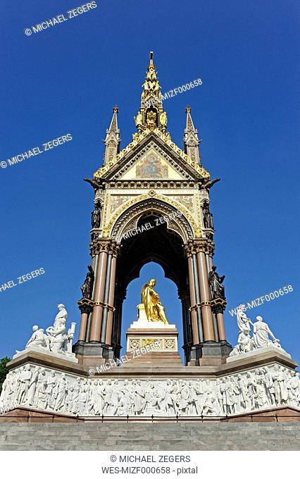 UK, London, Albert Memorial, gilded statue of Prince Albert