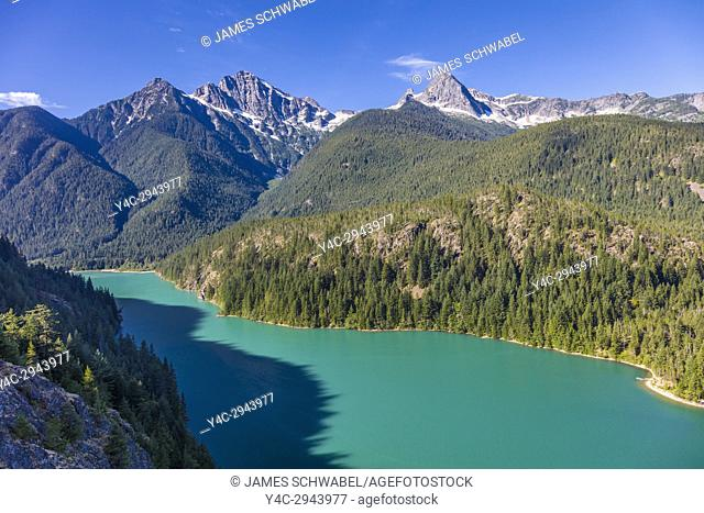 Diablo Lake from overlook is a reservoir in the North Cascade mountains of northern Washington state in North Cascades National Park United States