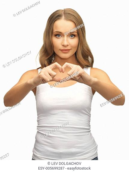 picture of beautiful woman forming heart shape