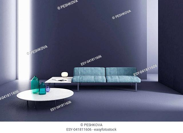 Contemporary glowing living room interior with furniture. 3D Rendering