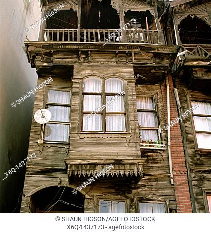 Ottoman housing in the district of Fener in Istanbul, Turkey