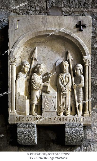 Ripoll, Girona Province, Catalonia, Spain. First Station of the Cross, Pilate condemns Jesus to death, in Monastery of Santa Maria de Ripoll