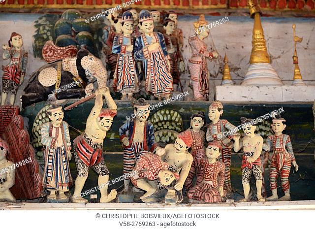 Myanmar, Mon State, Go Nut village, U Na Hawt pagoda, Execution of the 2 Golden Nat brothers