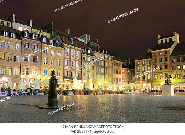 Old Town Market Square at Night, Warsaw, Poland
