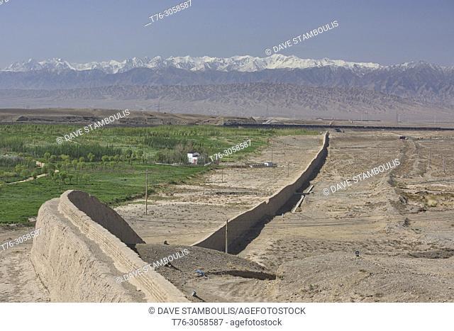 The original Great Wall at Jiayu Pass, with Qilian Mountains behind, Jiayuguan, Gansu, China