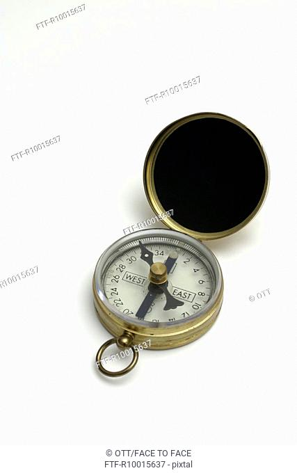 A high angle view of a compass
