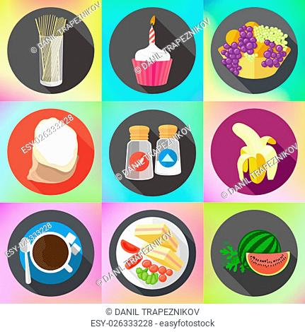 Set of colorful cartoon restaurant food, ingredients and fruits icons. Isolated vector. Set of flat design icons for food and drink