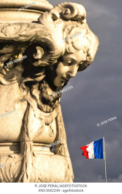 French flag, Pont Alexandre III, River Seine, Paris, France, Europe