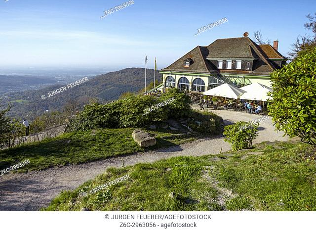 top station of the funicular on the mountain Merkur, landmark of the spa town Baden-Baden, Germany