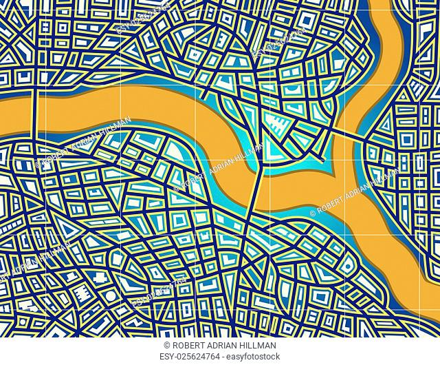Colorful editable vector map of a generic city