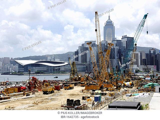 Construction cranes and skyline of Hong Kong, China, Asia