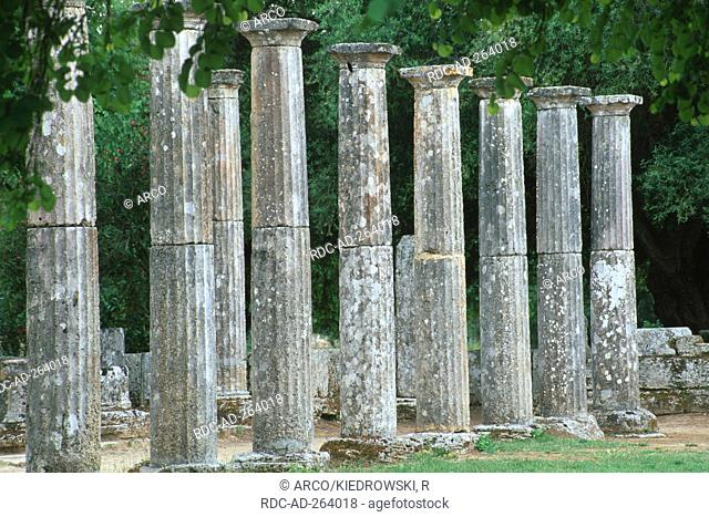 Ruins of Palaestra ancient Olympia Peloponnese Greece