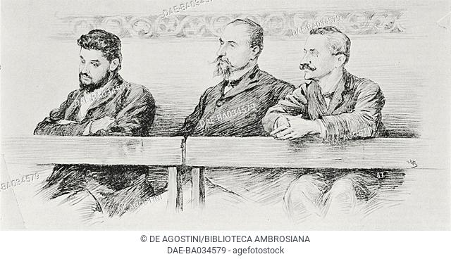 From left, Filippo Turati, Oddino Morgari and Luigi De Andreis, tried by the Military Tribunal for the riots in Milan, Italy