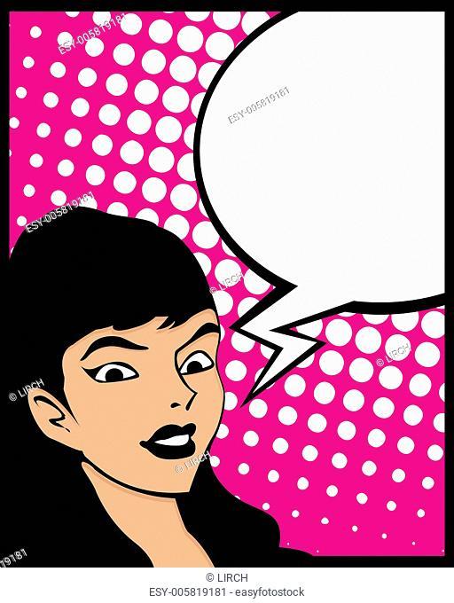 Speech bubble pop art woman