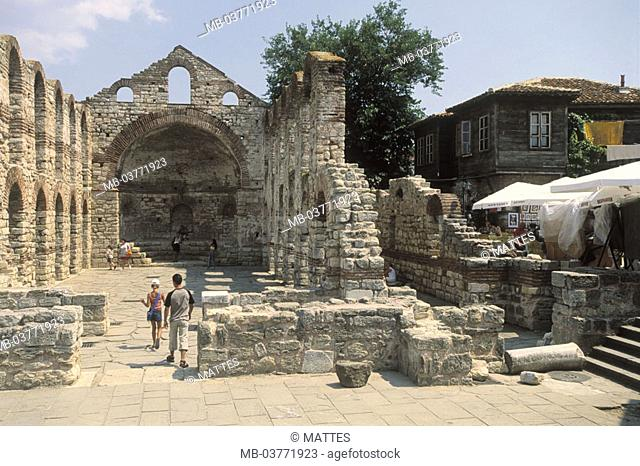 Bulgaria, Nessebar, old  Metropolitan church, ruin, visitors  Europe, southeast Europe, Balkans peninsula, Republika Balgarija, Nesebar, Alt-Nessebar, old town