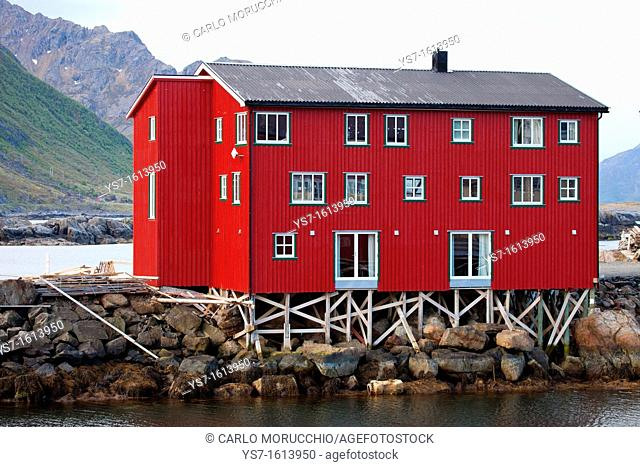 Houses on the harbour of Nyksund village, Langøya island, Vesterålen archipelago, Troms Nordland county, Norway