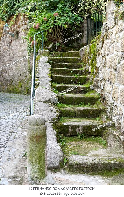 Stone stairs of an old house at Aldeia das Dez, Portugal