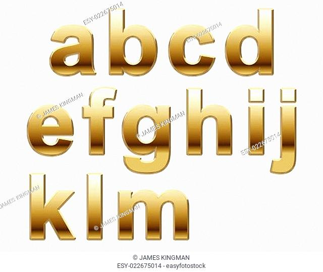 Shiny Gold Lower Case on White
