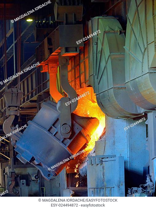 hot molten steel in a iron and steel plant production