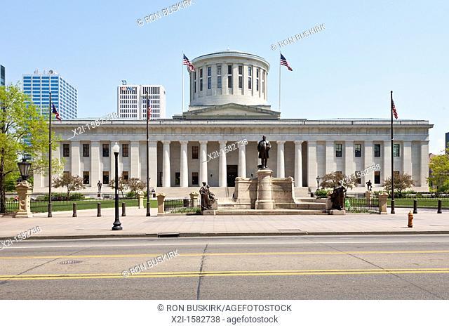 The Ohio Statehouse in downtown Columbus, Ohio