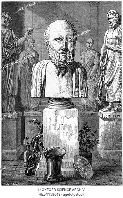 Hippocrates of Cos, Ancient Greek physician, 1866. Known as the 'father of medicine' Hippocrates (c460-c359 BC) laid the foundations of a scientific basis for...